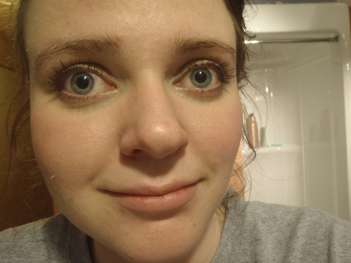 Ugh, I cannot believe I'm showing this but here is: late night picture of me wearing the powder over my Rimmel WMU foundation again up close and personal on a not-so-flattering flaky and spotty skin day.
