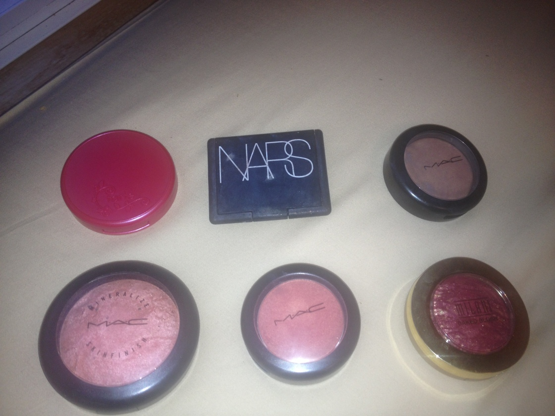 Top L-R - Tarte Natural Beauty, Nars Orgasm, MAC Harmony,  Bottom L-R- MAC Stereo Rose/ MAC Springsheen and Milani Red Vino