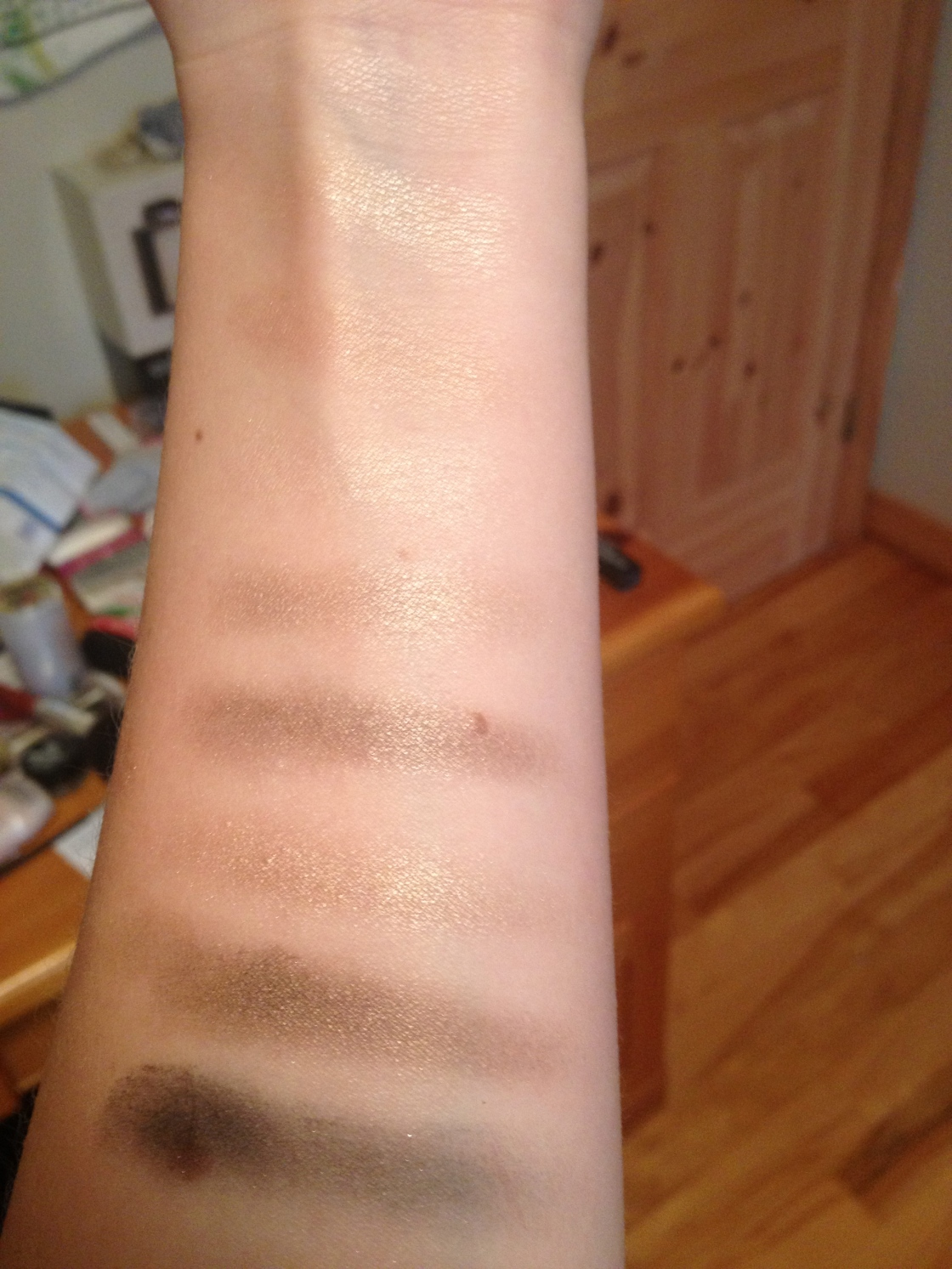 Swatches on bare skin taken without flash