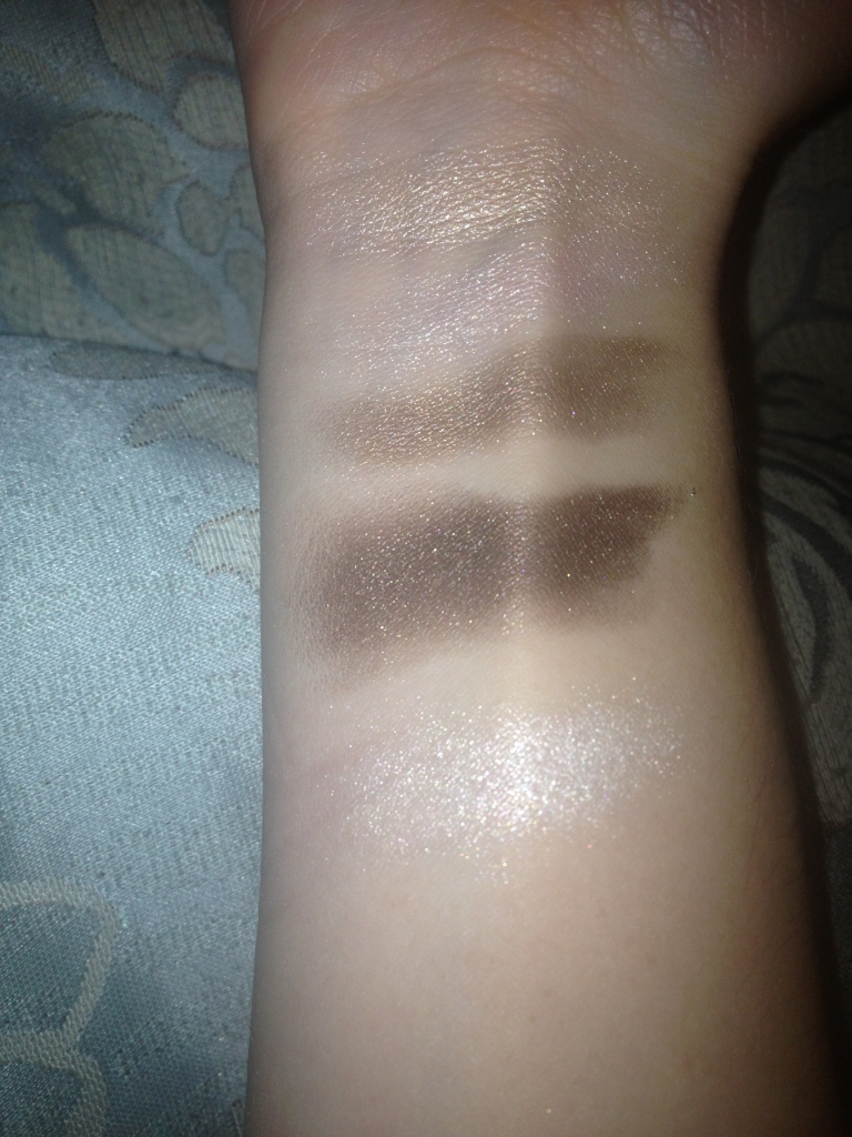 Top - Bottom: golden shade on upper left, pinky shade in center, light taupe on upper right, dark taupe on bottom left, highlight shade on bottom right